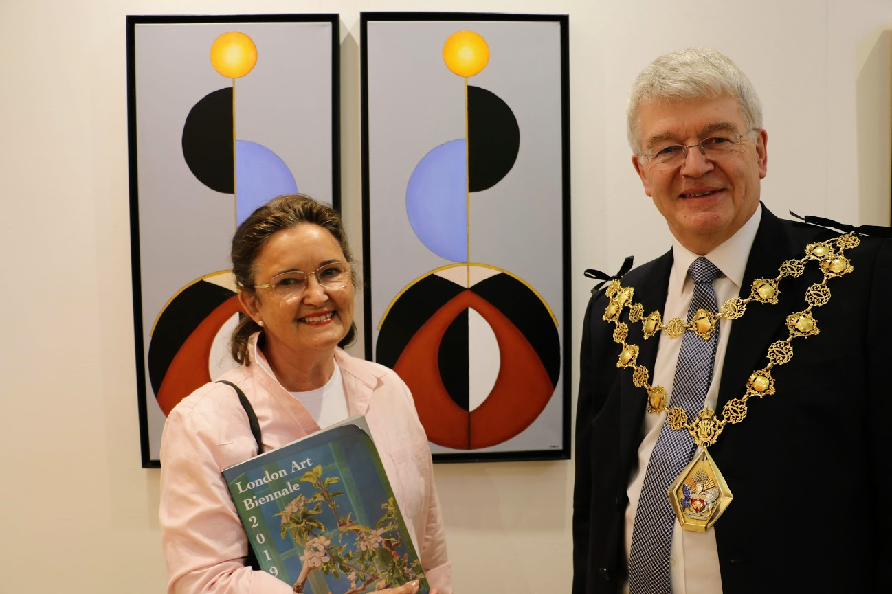 Councillor Will Pascall, Mayor of Kensington and Chelsea at the Biennale 2019 with Biennale artist Kirsten Hoest