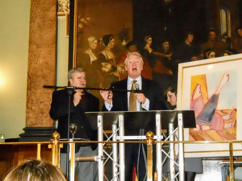 Nicholas Bonham, dynasty family of auctioneers, and Robert Gagliardi during a London Art Biennale Charity Auction